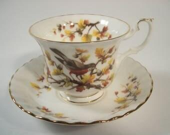 Royal Albert Woodland Series Tea Cup and Saucer, Robin tea cup and saucer set.