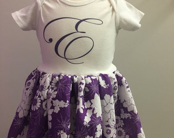 Personalized Onesie with Purple Flower Skirt