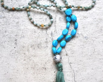 mixed gemstone + dusty green tassel mala beads