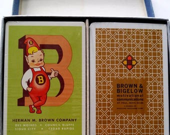 Brown & Bigelow Minnesota Herman M Brown Iowa Playing Cards Deck, Unused Packs