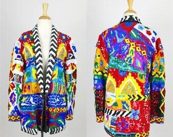 RARE Bright Sequin Jacket Colorful 80s Vintage