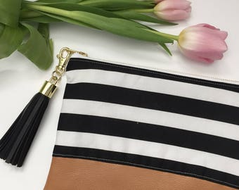 Black and White Stripe Clutch, Cognac Leather Clutch, Bridesmaid Clutch, Wedding Clutch, Gift for Her, Tassel Clutch