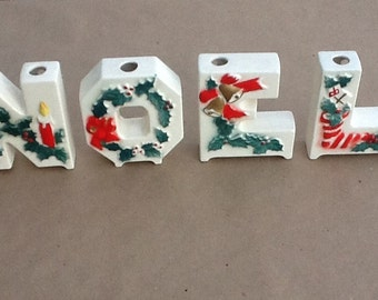 Vintage Christmas Candle Holders Letters NOEL Lipper and Mann