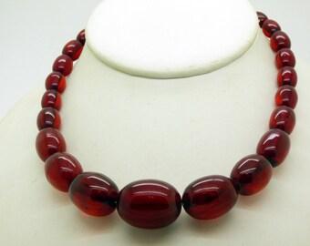 Vintage Cherry Bakelite Graduated Bead Art Deco Necklace