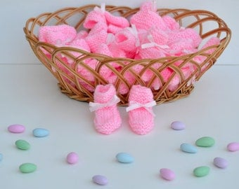 12 Pcs Miniature Knitted Baby Shower Booties, Baby Shower Favors