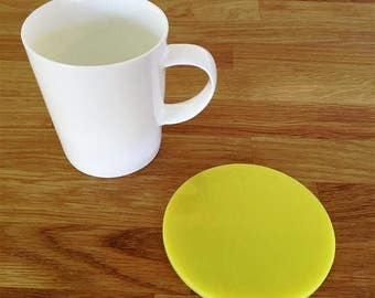 Round Shaped Yellow Gloss Finish Acrylic Coasters