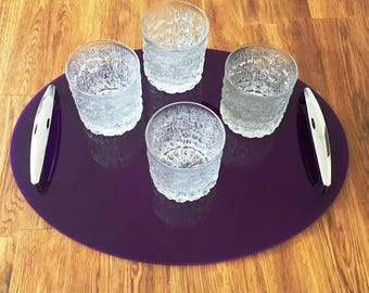 "Oval Serving Tray with Chrome Handles in Purple Gloss Finish 3mm Thick & Rubber Feet. Size 40cm x 30cm, 16"" x 12"""