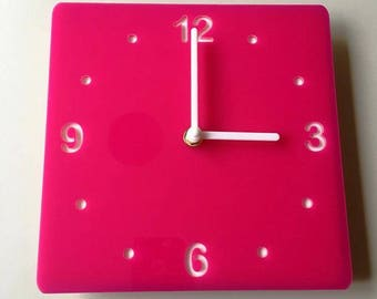 Rounded Corner Square Pink & White Clock - White Acrylic Back, Pink Gloss Finish Acrylic with White hands, Silent Sweep Movement  Size 8/12""