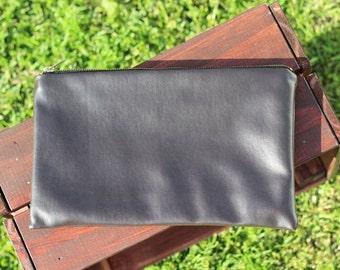Dark Chocolate Pleather clutch