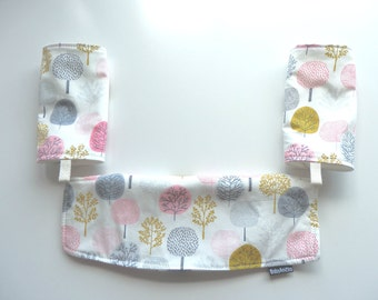 Organic Cotton Ergo Adapt carrier bib/cover and a pair of drool pads set-Pink Forest