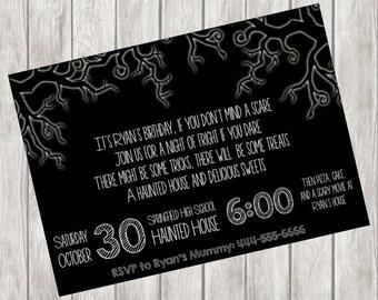 Halloween Haunted House Birthday Party Invitation