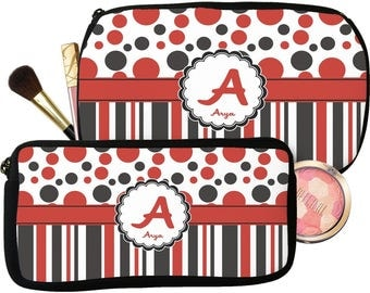 Red & Black Dots and Stripes Makeup / Cosmetic Bag (Personalized)