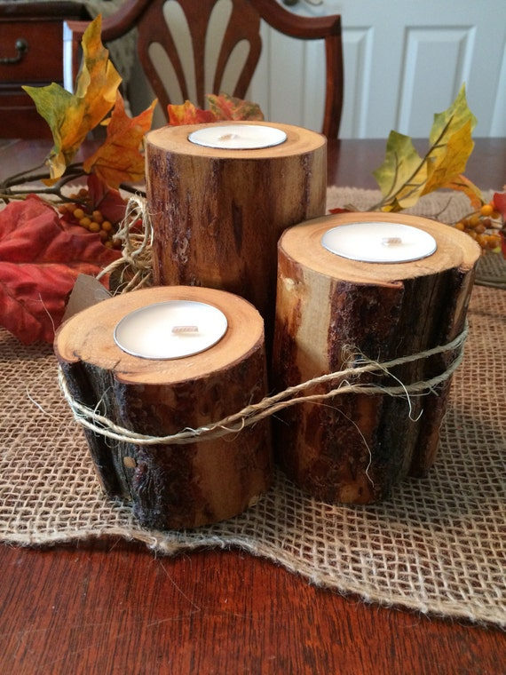 Set of 3 Rustic peeled Lodgepole Pine Candleholders!