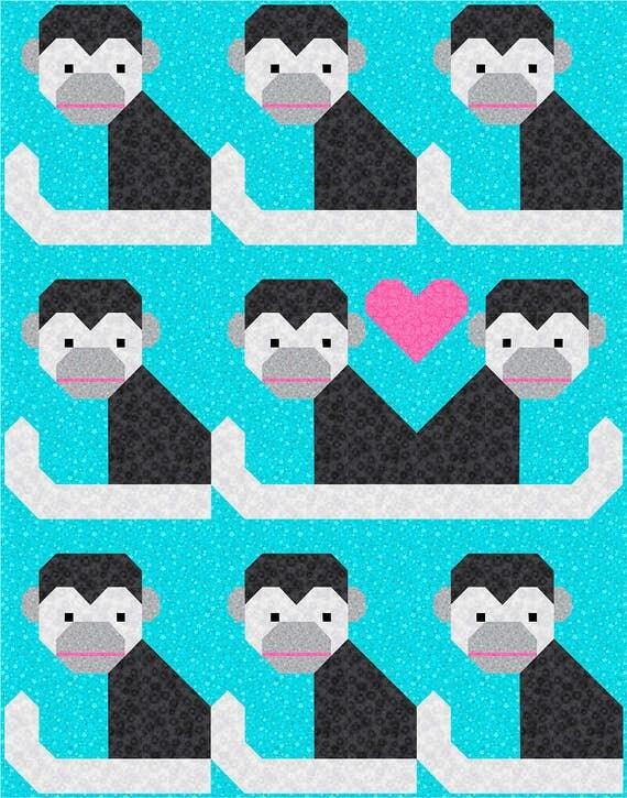 Monkey Business Quilt Pattern, PDF, Instant Download, jungle ... : monkey business quilt pattern - Adamdwight.com