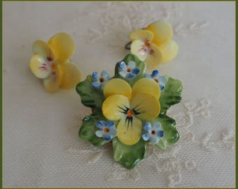 Vintage  Bone China Flower Brooch & Earrings Set - Hand Painted Forget Me Nots Pansies Staffordshire England - English Porcelain Pansy Pin