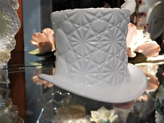 LARGE Fenton Milk Glass Top Hat Button Daisy Mid Century Quilted Diamond Stars Wedding Candle Holder Vase Country Cottage Home Decor Mother