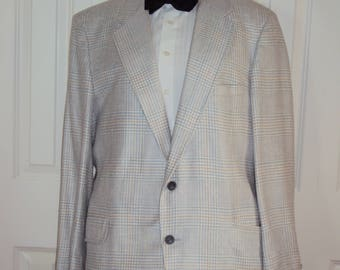 1980s Mens Silk Lined Spring/Summer  Hardy Aimes Sport Coat Size 42 /Blue, Green, White Spring Blazer/ Houndstooth Check Print