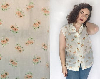 Floral Blouse 70s SHEER Sleeveless Button Up Collared Shirt Flower Print White Pink Green Boho Hipster 1970s Extra Large XL
