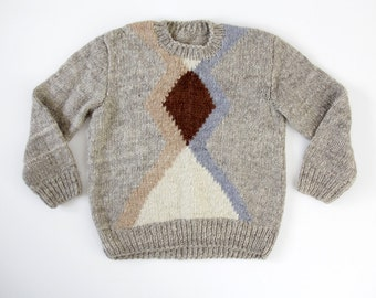 Vintage sweater // handmade gray geometrick chunky knit jumper