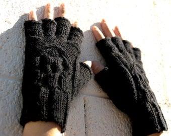 Women's half-finger skull gloves, gift for her, machine washable merino knit gloves, texting gloves, smoking gloves, fingerless gloves,skull