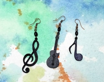 black classic quitar/ musical note /sol key earrings -1 pcs (not couple)-leather earings-music lovers-gift for her