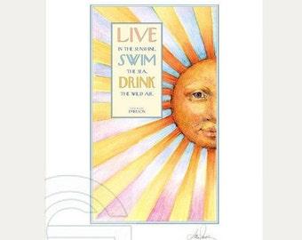 Sunhine Art Print, Beach House Wall Art, Coastal Art Print, Sun Face Wall Art, Inspirational Quote Fine Art Print of Original Watercolor