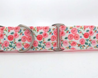 Tiny Pink Roses CANVAS Dog Collar (Martingale, Buckle or Tag)
