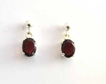 Garnet Drop Earrings - Oval