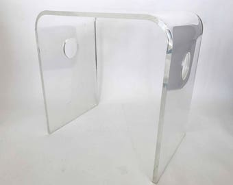 The Lucidity of Lucite Vintage Waterfall Table Clear Acrylic Accent  Side Table Console Stool Mid Century Modern Minimalist Furniture