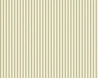 Green Ticking Stripe Fabric Maywood Studio, vintage style fabric, vintage chic, green stripes, green ticking, shabby chic, woodland, country