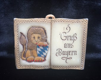 SALE! Vintage Handmade Bavarian Coat of Arms Wax Book Plaque Vintage German Bavarian Lion with Shield Engraving Grüß aus Bayern Souvenir