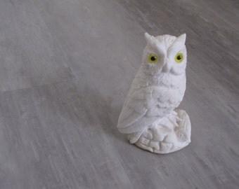 Vintage White Owl Figurine with yellow eyes