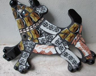 Farm Dog made from vintage Pottery
