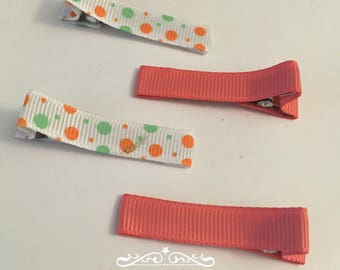 Peach and Polka Dot Little Alligator Hair  clips