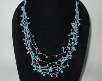 Blue Turquoise Stone, Multi Strand Necklace on Wax Cord