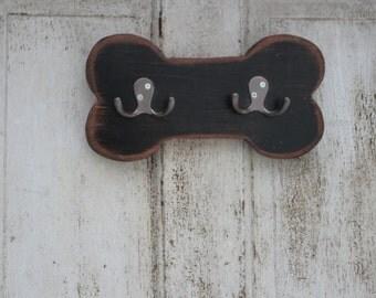 Dog leash holder.  Handmade, distressed,  Bone Shaped Leash And Collar Holder -  Wooden Leash Holder - Dog Leash Hook -  Leash Holder