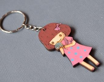 Pink girl keychain