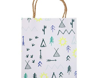 Camping Favor Bags (Set of 8) - Meri Meri Let's Explore Set, Party Favor Bag, Gift Bag, Goodie Bag