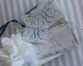 Finger Lakes NY Map Luggage Tags 30 at 1.50 ea. vinyl pouches, ID back, loop straps, thank you tags w/satin ribbons or jute, simple assembly