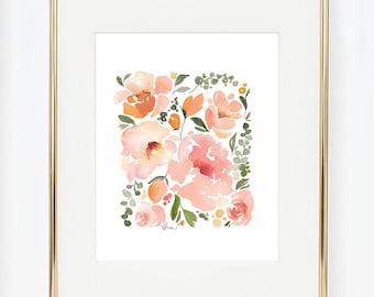 Square Flower Design, Home Decor, Watercolor Flowers