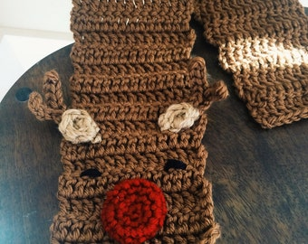 Reindeer Scarf - all sizes, baby, toddler, child, adult - Rudolph the Red Nosed Reindeer christmas scarf
