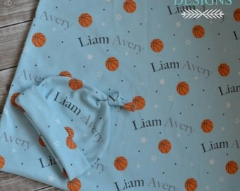Personalized baby name basketball knot hat and swaddle blanket set: baby and toddler personalized name newborn hospital