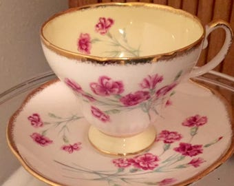 Vintage Foley bone china pink carnation pattern cup and saucer