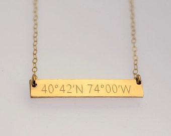 Latitude Longitude Necklace | Longitude Latitude Necklace | Longitude | Latitude Necklace |  Gold | Rose Gold | Silver