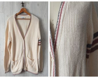 Men's Vintage 70s 80s Crem Grey and Mauve V Neck Cardigan Sweater with Arm Sripe by Russ // Size M L