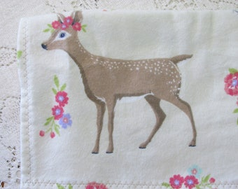 Extra-Large Receiving Blanket - Baby Deer - Floral Fawn - Fox - Squirrel - Owl - Nature - Forest Friends Flannel Baby Blanket - Baby Gift
