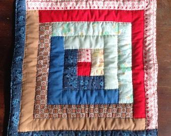 vintage handmade quilt patchwork / vintage quilt table topper
