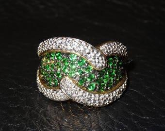 Tsavorite Garnet Ring 10K Gold White Topaz Engagement Wedding Vintage