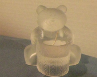 Bear Candle Holder in Frosted Crystal Glass