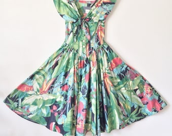 Vintage Off The Shoulder Green Leaf and Floral Print Dress